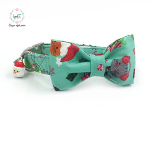 "Premium Quality ""Holiday Santa"" Patterned Collar, Bow Tie and Leash Combo collar  Kaulana Pets"