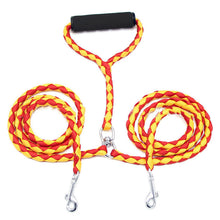 Pet Nylon Dual Dog Leash No-Tangle Double Dog Leash Coupler For 2 Dogs Contrast Color Padded Handle For Small Medium Large Dogs - Kaulana Pets