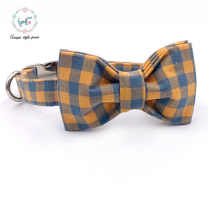 Premium Quality Orange Plaid Collar, Bow Tie and Leash Combo collar  Kaulana Pets