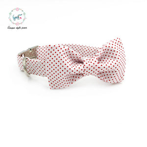 Premium Quality Red Polka Dot Collar, Bow Tie and Leash Combo collar  Kaulana Pets