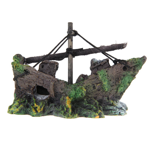 Hot sale Resin Aquarium Ornament Wreck Sunk Ship Sailing Boat Destroyer Fish Tank Tank Aquarium Accessories Decoration - Kaulana Pets