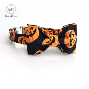 Premium Quality Halloween Pumpkin Cotton Material Collar, Leash and Bow Tie Combo collar  Kaulana Pets