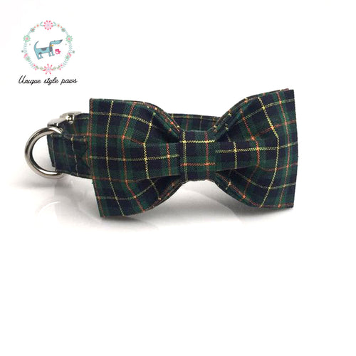 Premium Quality Green Plaid Collar, Bow Tie and Leash Combo collar  Kaulana Pets