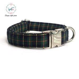 Premium Quality Green Plaid Collar, Bow Tie and Leash Combo - Kaulana Pets