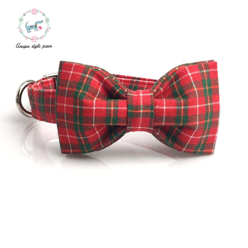 Premium Quality Red Plaid Collar, Bow Tie and Leash Combo collar  Kaulana Pets