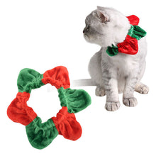 Lovely Christmas Pet Dog Collar Hexagram Red and Green Splicing Protective Collar Pet Accessories With Adjustable Elastic Band - Kaulana Pets