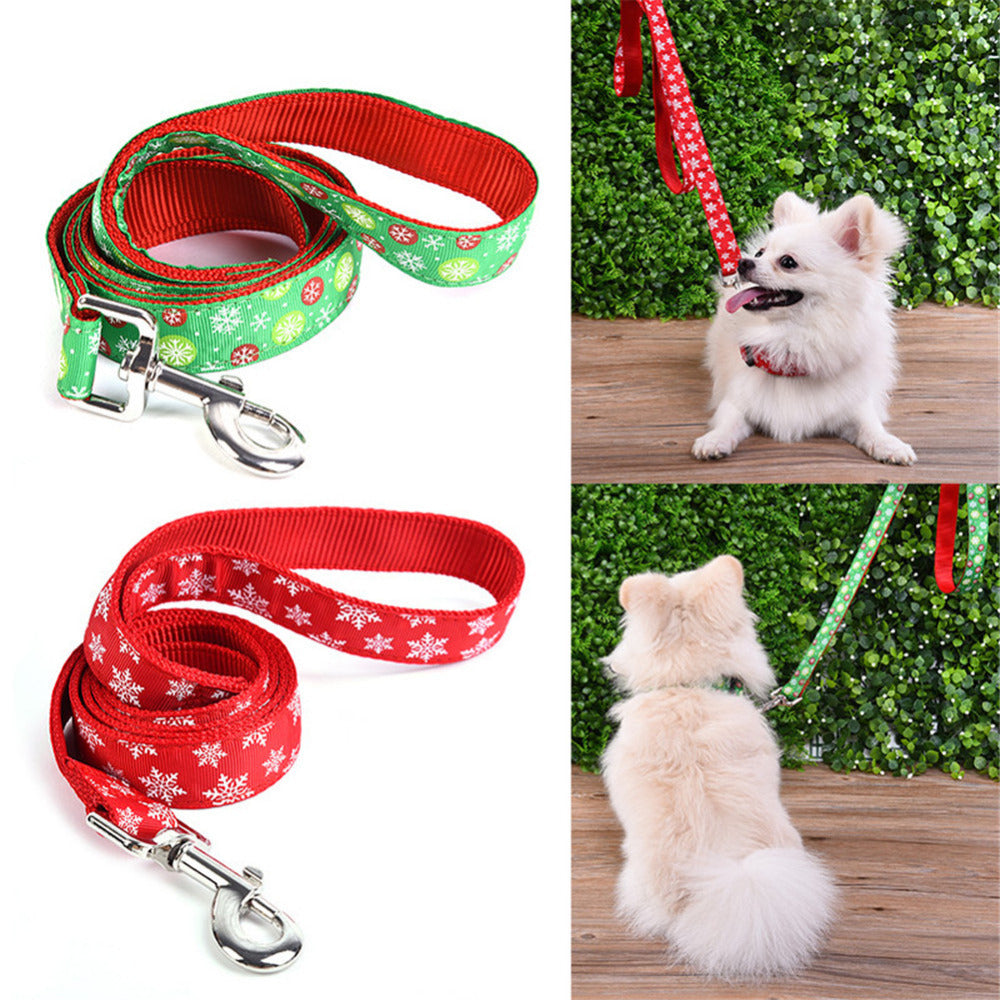HOT! Christmas pets collar+leash Supplies for Pets Snowflake Collars and Traction Rope leashes belt  for pet Dogs cat supplies - Kaulana Pets