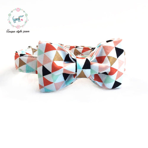 Premium Quality Triangle patterned Collar, Bow Tie and Leash Combo collar  Kaulana Pets