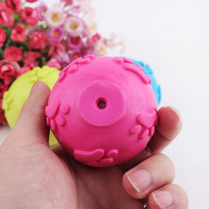 TPR Rubber Ball Pet Dog Toy Puppy Chew Squeaker Squeaky Sound Toys For Dogs Hollow Footprints Ball Dog Free Shipping   Kaulana Pets