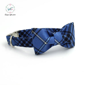 Premium Quality Blue Plaid Collar, Bowtie Combo collar  Kaulana Pets