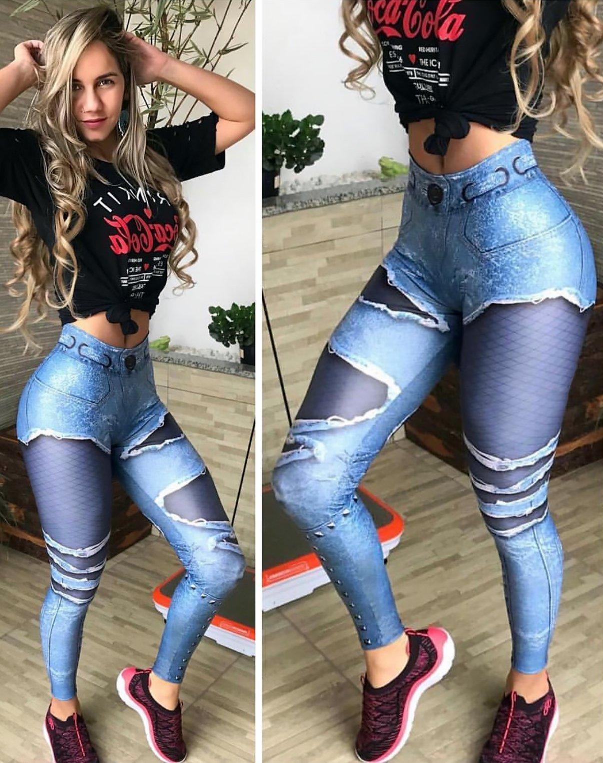 High Waist Ripped Jeans Print Push Up Leggings