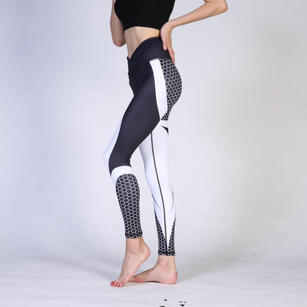 Honeycomb Print V-Taper Push Up Fitness Leggings