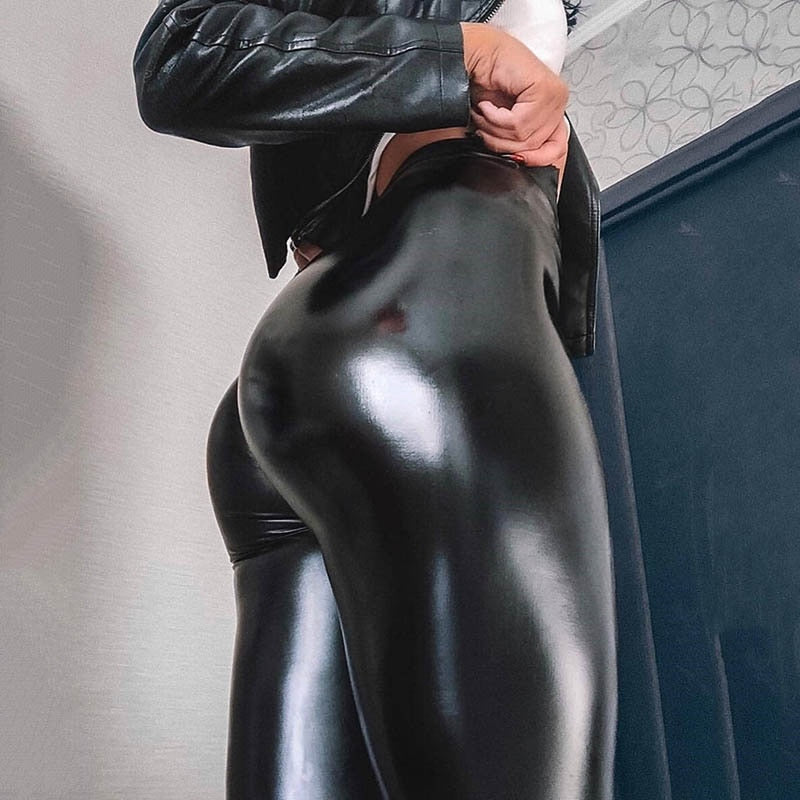 Black Faux Leather High Waisted Push Up Leggings (Plus Size Available)
