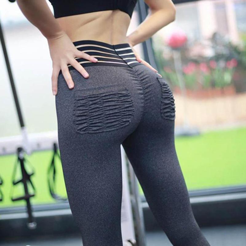 BEST SELLING! - Striped High Waist Pocket Push Up Tummy Control Fitness Leggings