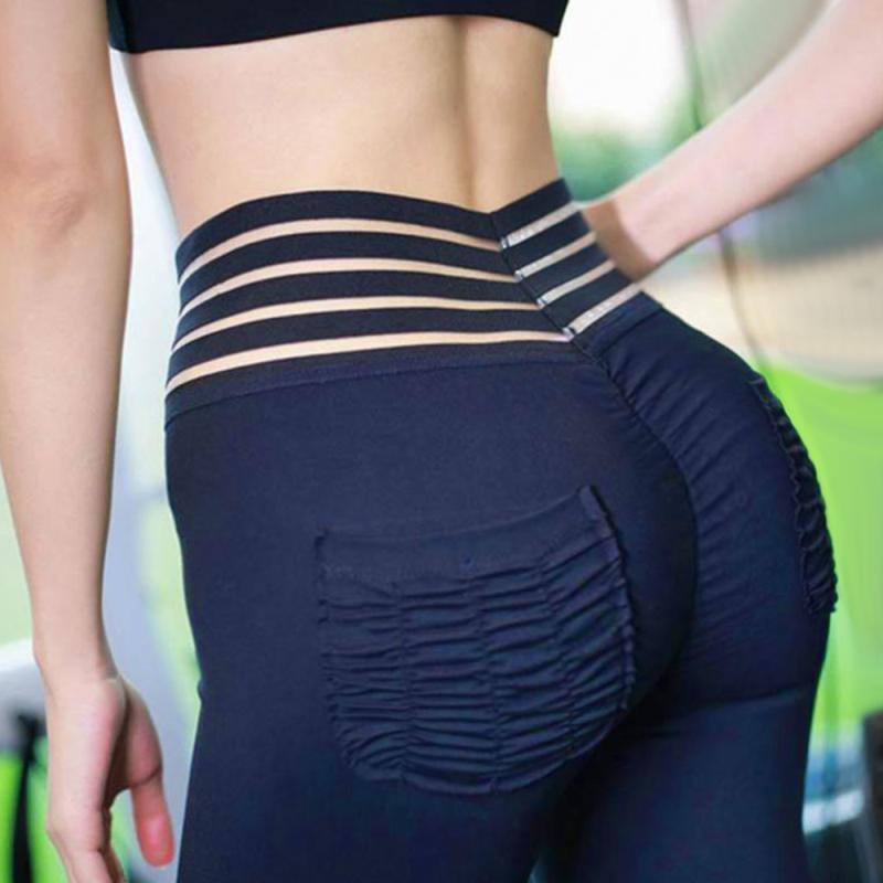Striped High Waist Pocket Push Up Tummy Control Fitness Leggings