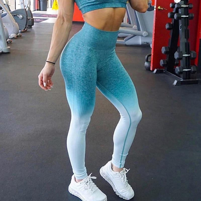 High Waist Seamless Ombre Push Up Fitness leggings