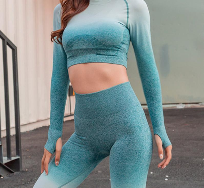 BEST SELLER - High Waist Seamless Ombre Push Up 2 Piece Fitness Set