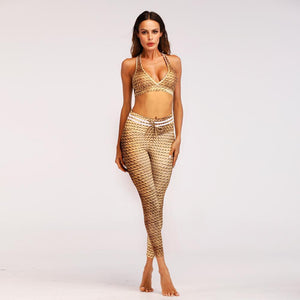 NEW- Realistic 3D Golden Rope print Leggings