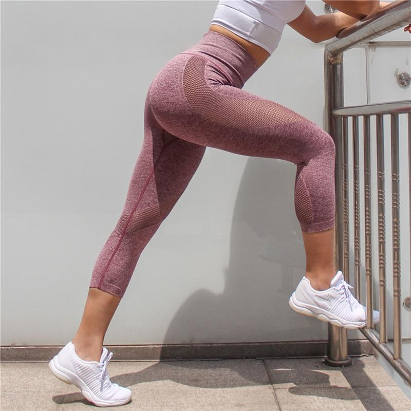 High Waist Tummy Control Mesh Push Up Capri Workout Leggings