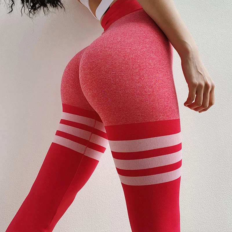 High Waist Fitness Seamless Push Up Three Lines Sculpting Leggings