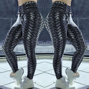 High Waist Designer Iron Armor Weave Print Push Up Leggings