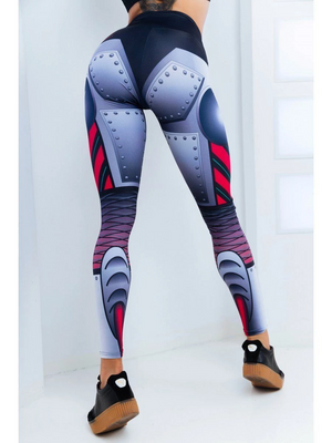 PureGem Designer Cyberwomen Print Push Up Fitness Leggings