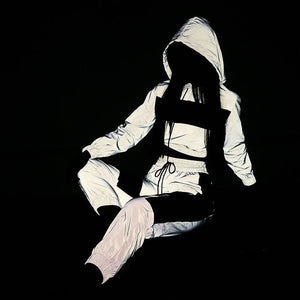 Superior Shine 2 Piece Reflective Cropped Hoodie and Pants Set