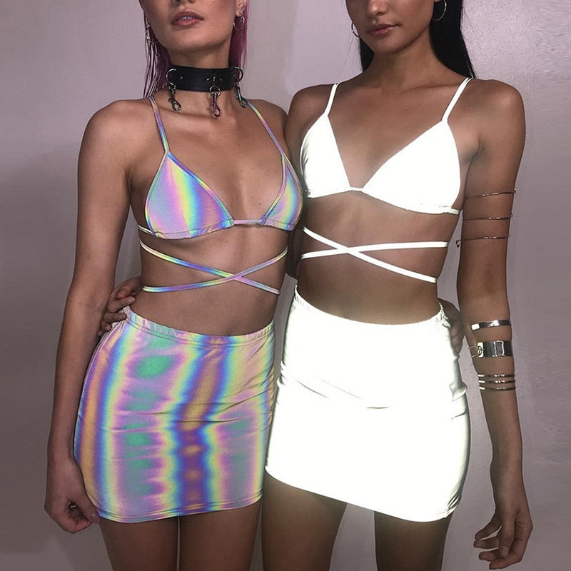 Reflective iridescent holographic glowing Cami Summer Wear Bikini top & Skirt Set