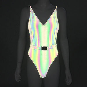 Holographic Reflective Buckle Belt Sexy Bodysuit