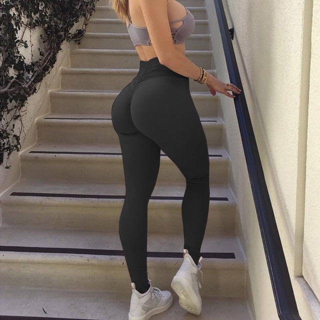 Striped High Waist Booty Scrunch Push Up Tummy Control Fitness Leggings