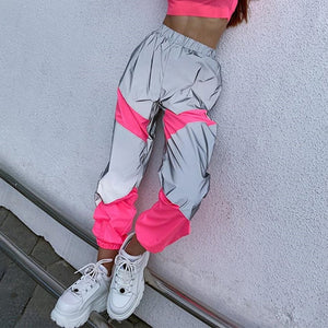 Neon Patchwork Reflective Sweatpants Joggers