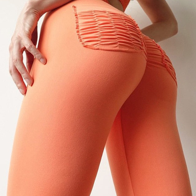 NEW High Waist Scrunch Booty Runch Pocket Push Up Fitness Leggings