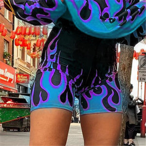 Women Fashion Flame Print High Waist Streetwear Shorts