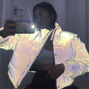 Women Oversized Cotton Cropped Reflective Fashion Jacket