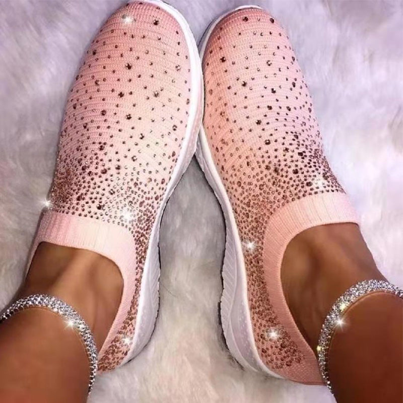 Crystal Bling Fashion Breathable Ladies Sneakers