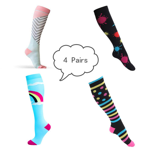 Korean Fashion Athletic Medical Running Compression Socks (4/6/7/8 Pairs)