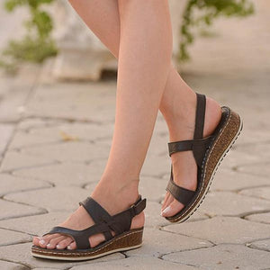 Summer Hollow Out Wedge Buckle Bunion Corrector Orthopedic Sandals