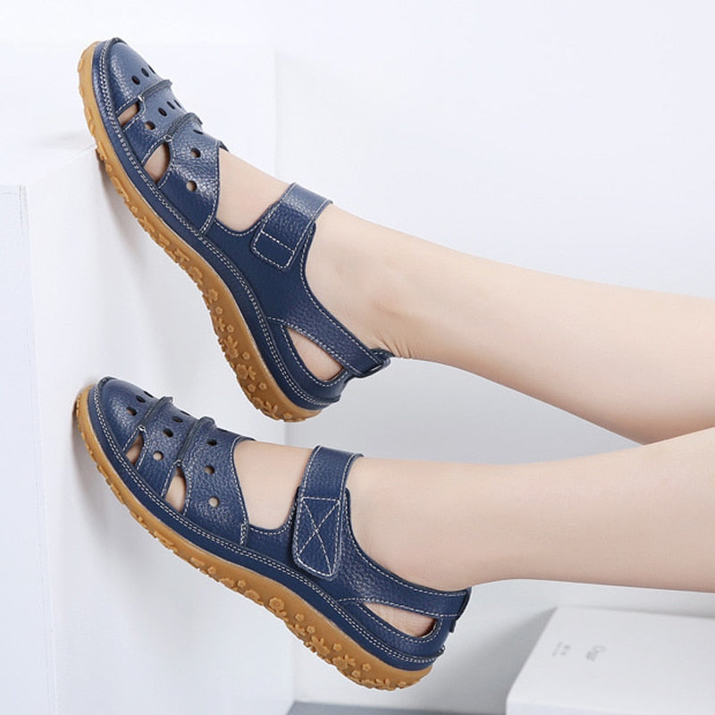 Summer Women Breathable Genuine Leather Sandals