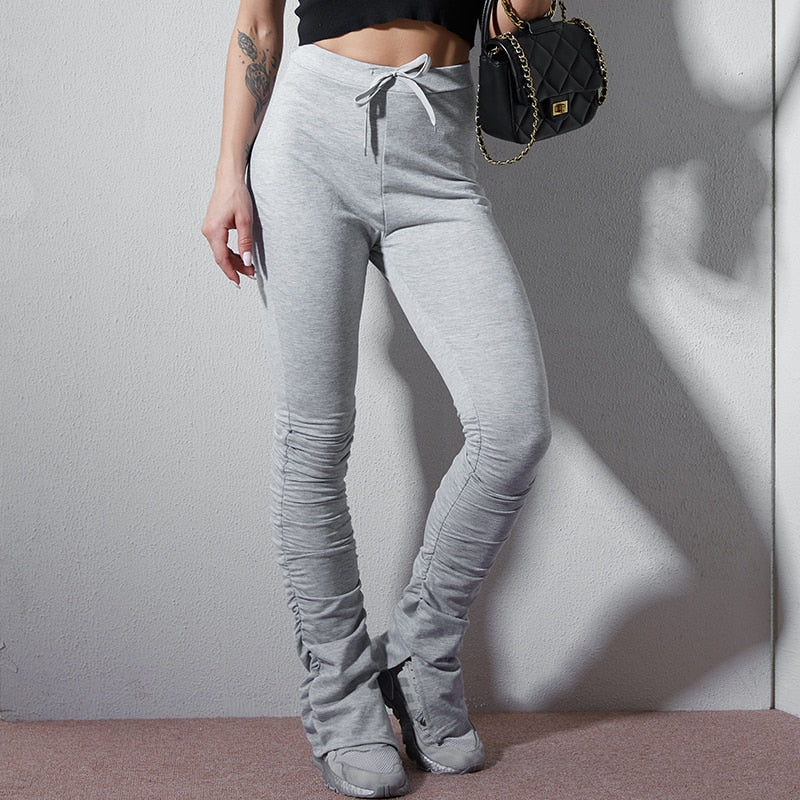 Woman Stacked High Waist Flare Jogger Pants