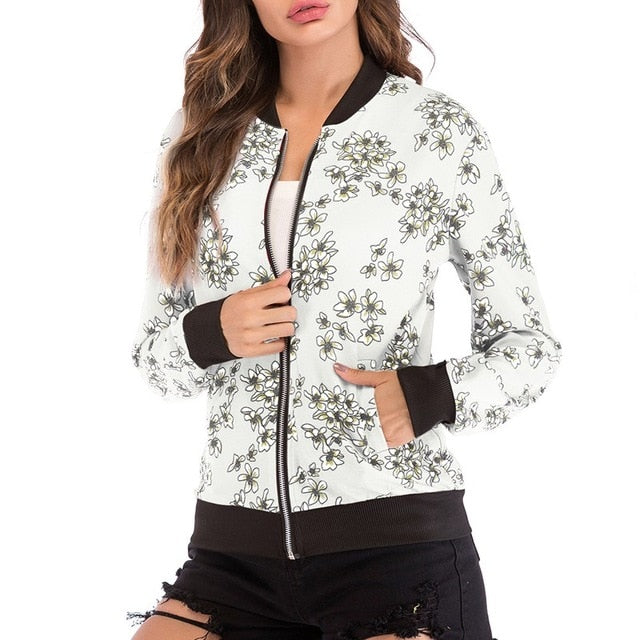 Women Fashion Retro Floral Print Bomber Jacket