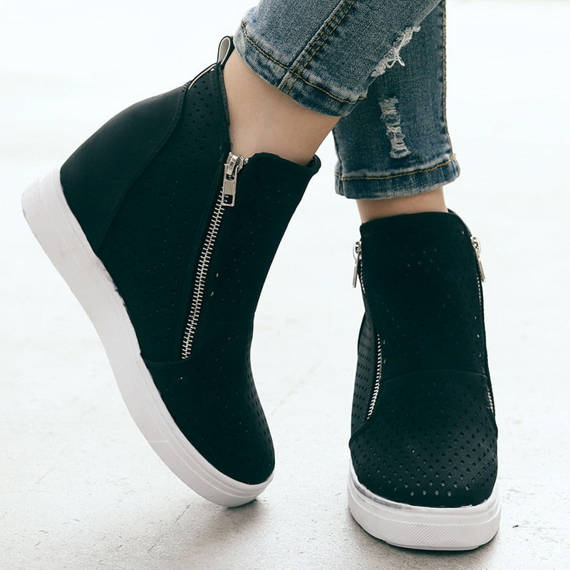 Pure Fashion Side Zipper Sneakers Ladies Shoes