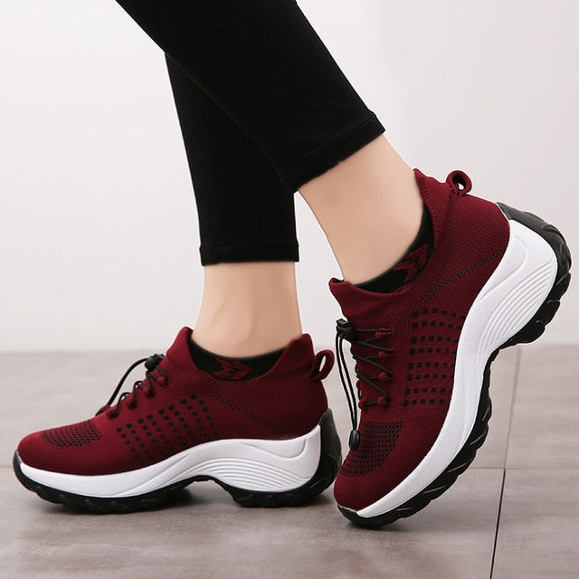 Women Breathable Mesh Platform Lace Sneakers Shoes