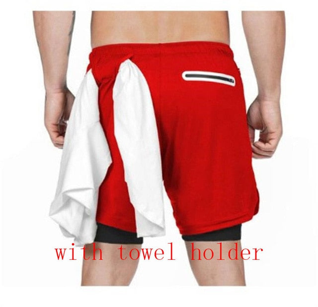 Mens 3 in 1 Workout Shorts - Quick dry with phone & towel holder