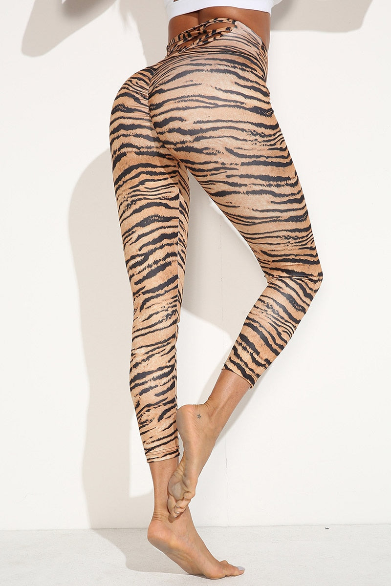 Women Tiger Pattern Push Up Workout Fitness Leggings
