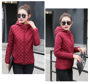 Women Stylish Autumn Quilted Padded Hooded Jacket