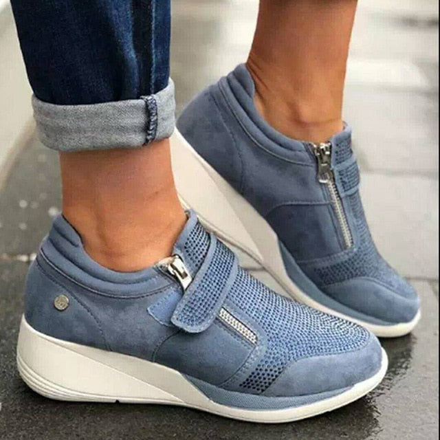 Women Zipper Padded Collar Strap Wedged Orthopedic Bunion Corrector Sneaker