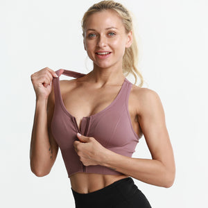 Women Yoga Front Zipper Compression Athletic Sports Bra