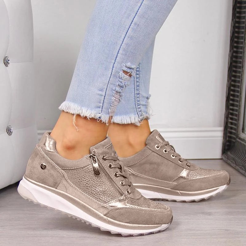 Women Zipper Lace Up Orthopedic Bunion Corrector Sneaker Shoes
