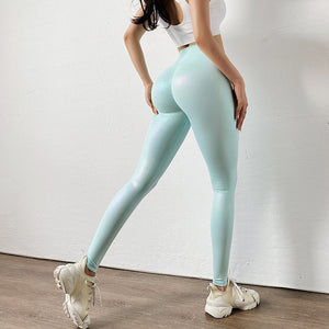 Women High Waist Push Up Fitness Shine Booty Lift faux Leather Leggings