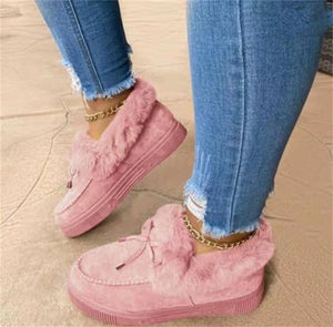 Women Snow Faux Fur Platform Slip-on Loafer Boots